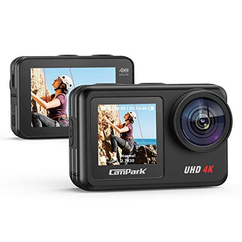 Campark Action Cam 2 Bildschirme mit 4K 20MP WiFi Action Kamera V40, Wasserdicht zu 10M...