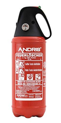 orig. ANDRIS® Feuerlöscher ABC Pulver 2kg, für Auto/LKW, mit KFZ-Drahthalter, handliche Griffhaube mit...