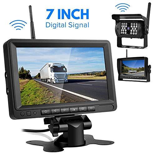 Kabellos Digital Rückfahrkamera, Directtyteam Wireless Einparkhilfe mit 7' LCD-Monitor Wasserdicht IP68...