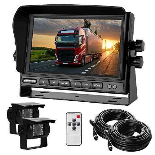 Dual-Rückfahrkamera-Set mit 7' TFT LCD Kfz-Monitor & Zwei 170° Weitwinkel- Rückfahrkameras, IP68...