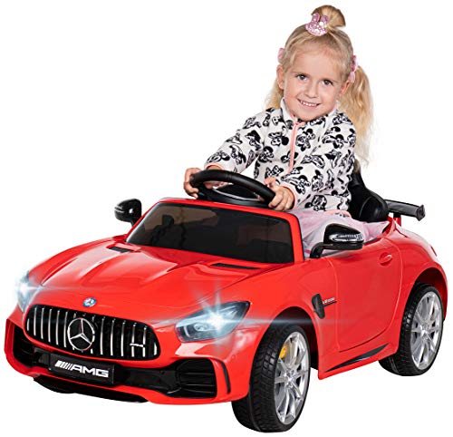 Actionbikes Motors Kinder Elektroauto Mercedes Amg GT-R - lizenziert – 2 x 25 Watt Motor – Ledersitz...