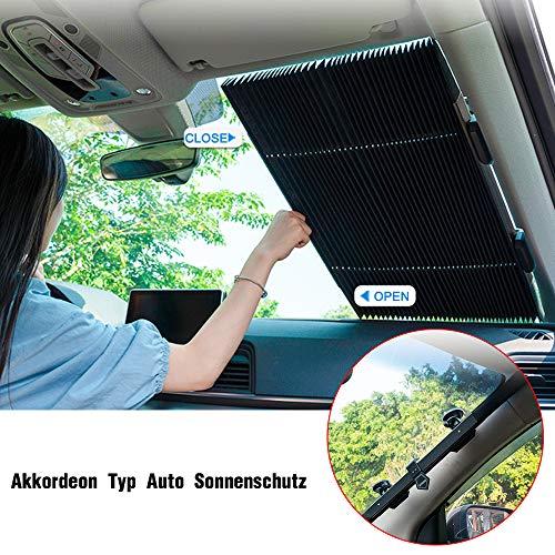 YOUXIU Versenkbare Sonnenschutz für Auto Windschutzscheibe, Automatische Einziehbare Sonnenblende Auto...