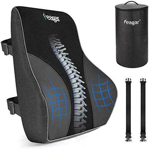 Feagar Lordosenstütze Rückenkissen, Memory-Schaum Rückenlehnenstütze für Bürostühle/Autositze,...