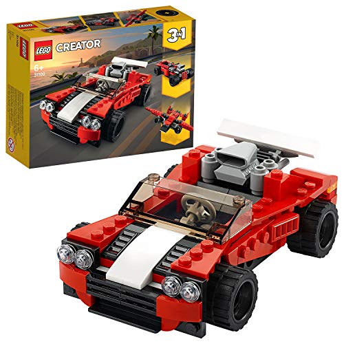 LEGO 31100 Creator 3-in-1 Sportwagen-, Hot Rod-, Flieger-Bauset, Spielzeuge für Jungen und Mädchen ab 7...