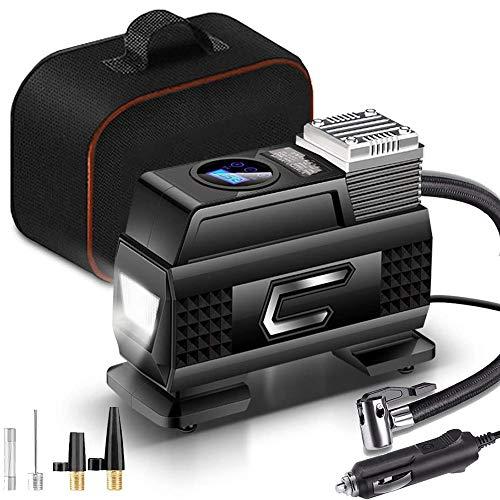 D&XQX Tragbare elektrischer Luftverdichter, 12V DC 100PSI Digital-Gummireifen für Pkw-Reifen-Pumpe, mit...