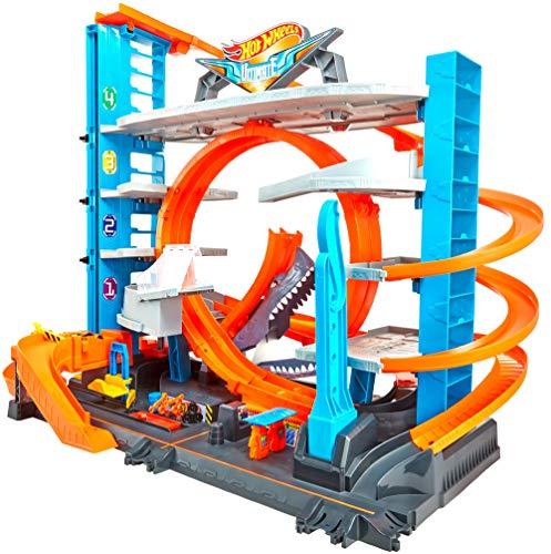 Hot Wheels FTB69 - City Ultimate Parkgarage und Parkhaus für Kinder, Garage mit Hai für +90 Autos, mit...