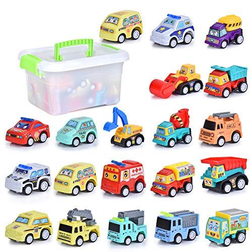 FORMIZON 20 Stück Mini Auto Spielzeug, Mini Baufahrzeuge Spielzeug Auto, Modellautos Bagger Bulldozer...