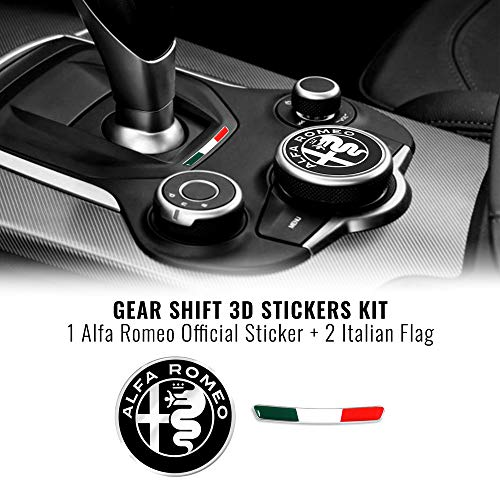 Quattroerre Kit Aufkleber Alfa Romeo Logo 51 mm + Fahne für Innen Giulia Stelvio