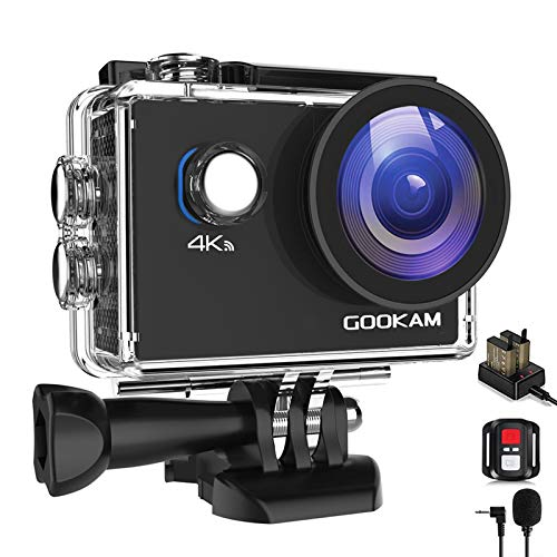 GOOKAM Go 2 Action Cam 4K 20MP Unterwasserkamera 40M Wasserdicht Kamera Actionkamera WiFi Helmkamera mit...
