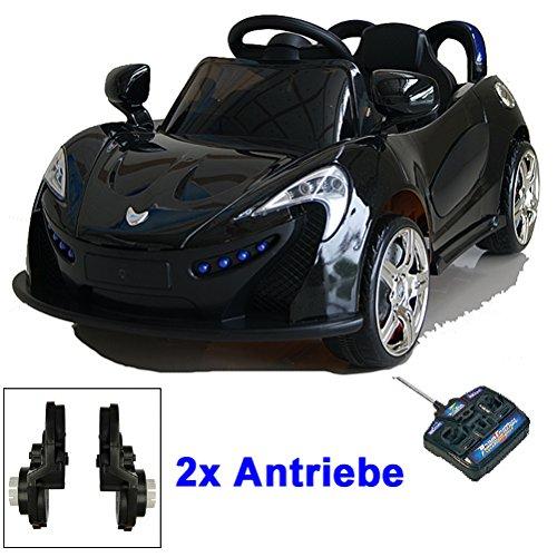 Roadster mit 2x Motoren mp3 LED Elektro Kinderauto Kinder Auto Elektroauto Elektrofahrzeug (schwarz)