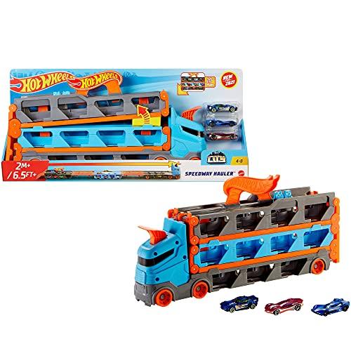 Hot Wheels GVG37 - 2-in-1 Rennbahn-Transporter zur Aufbewahrung mit 3Fahrzeugen im Maßstab 1:64 für...