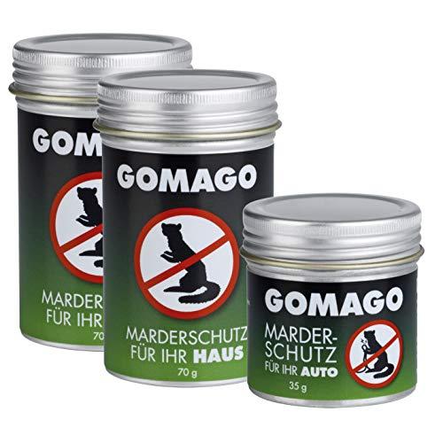 GOMAGO Marderschutz Set für Ihr Haus (2x70g) und Auto (1x35g) | Zuverlässige und einfache...