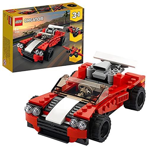LEGO 31100 Creator 3-in-1 Sportwagen, Hot Rod oder Flieger, Spielzeuge für Jungen und Mädchen ab 7...