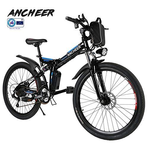 ANCHEER Elektrofahrrad Faltbares Mountainbike, 36V 8Ah Lithium-Batterie 26 Reifen Elektrisches Fahrrad...