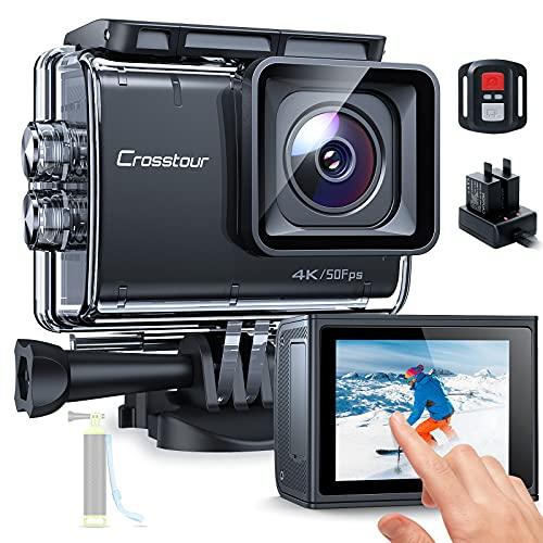 Action Cam Touchscreen, Crosstour CT9700 4K/50FPS Unterwasserkamera Helmkamera (WiFi 20MP Fernbedienung...