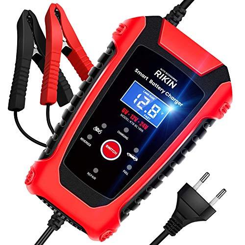 RIKIN Autobatterie Ladegeräte 6A 6V/12V/24V Vollautomatisches Intelligentes Batterieladegerät mit...