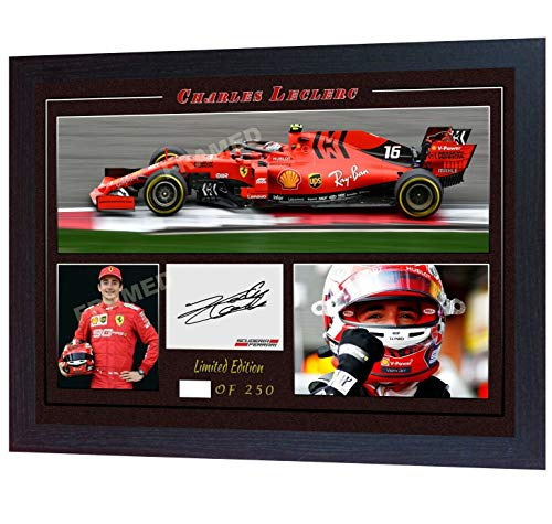 SGH SERVICES Gerahmtes Autogramm von Charles Leclerc Ferrari Formel 1, signiertes Autogramm, Fanartikel,...