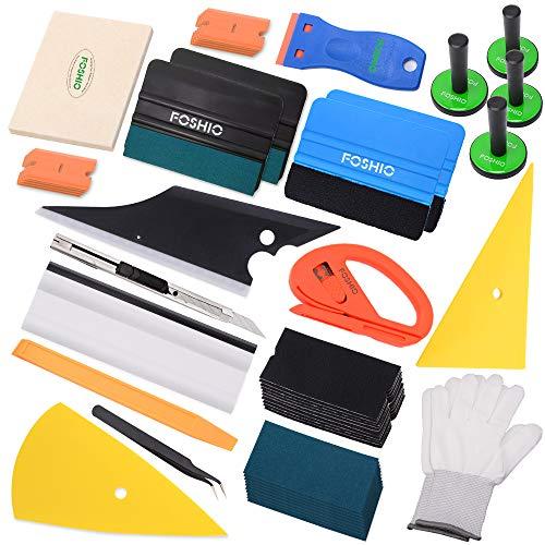 FOSHIO Folierung Werkzeuge Set mit Heißluftgebläse, Rakel, Schaber, Magnethalterung, Pumpsprayer,...