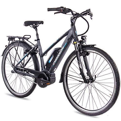 CHRISSON 28 Zoll Damen Trekking- und City-E-Bike - E-Rounder anthrazit matt - Elektro Fahrrad Damen - 7...