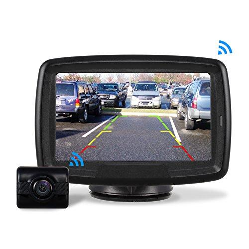 AUTO-VOX Rückfahrkamera Drahtlos Set mit 4.3' Zoll/11 cm LCD Monitor, Wireless Einparkhilfe 12V-24V mit...