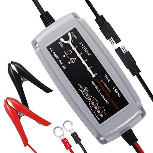 InThoor 5A/12V Vollautomatisches Autobatterie Ladegeräte,Intelligentes Batterieladegerät Wasserdichte...