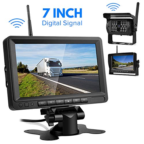 Kabellos Digital Rückfahrkamera, Directtyteam Funk Einparkhilfe mit 7' LCD-Monitor 28 IR LEDs Nachtsicht...