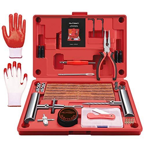 AUTOWN Reifen Reparaturset, 75 Stücke KFZ Reifen Reparatur Set, Autoreifen Reparaturset, Reifenflickzeug...