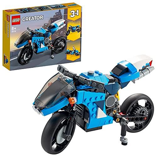 LEGO 31114 Creator 3-In-1 Geländemotorrad aus Bausteinen, klassisches Motorrad Spielzeug mit Hoverbike,...