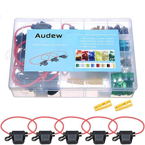 Audew KFZ Sicherung Set Auto Sicherungen Set 120 Stück Flachsicherungen mit 10 KFZ-Sicherungshalter