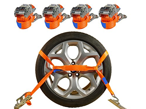 INDUSTRIE PLANET 4 x Spanngurte Autotransport 2000 daN / 2,9m / 35 mm orange Radsicherung Reifengurt...