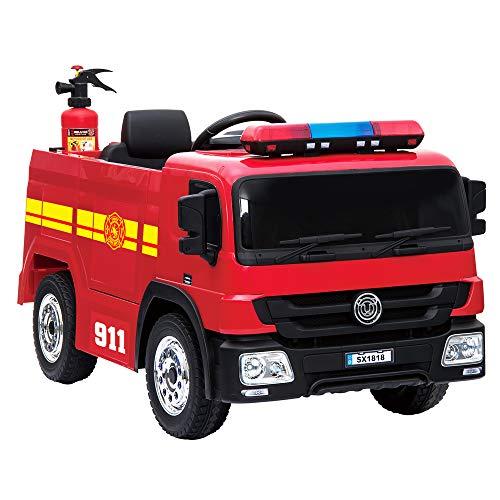 crooza NEUHEIT - Feuerwehr Kinderauto Feuerwehrauto Firetruck Kinderfahrzeug Kinder Elektroauto inkl....