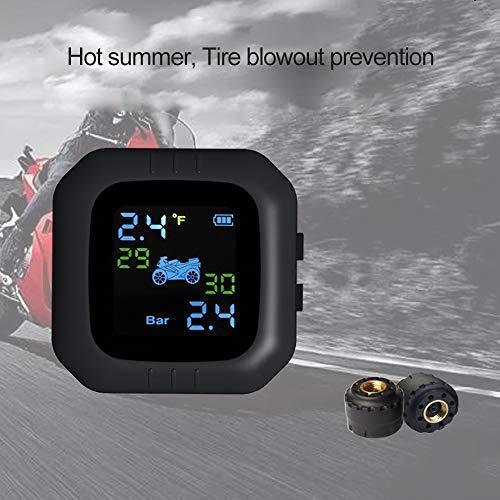 KKmoon Motorrad Wireless Sensor TPMS Reifendruckkontrollsystem Wasserdicht Monitor System mit 2 Externe...