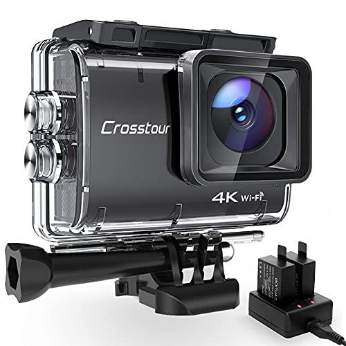 Action Cam 4K/50FPS, Crosstour CT9500 Unterwasserkamera, WiFi Helmkamera 40M Wasserdicht EIS 2X1350mAh...