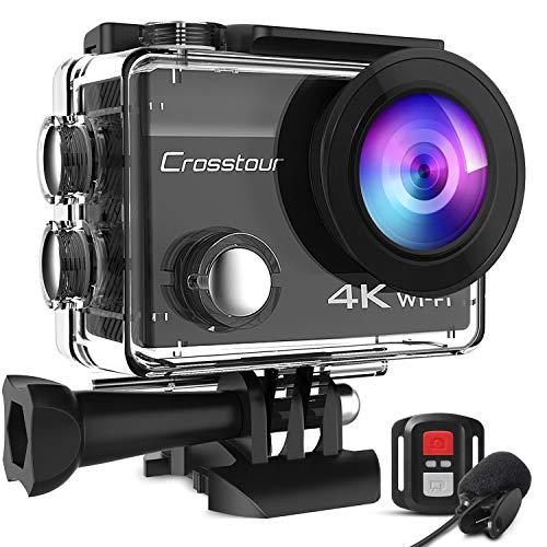 Crosstour Action Cam 4K 20MP WiFi Fernbedienung und Externes Mikrofon EIS Helmkamera Unterwasser 40m...