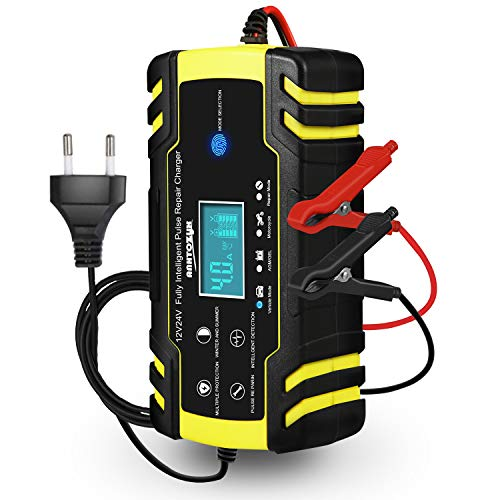 Autobatterie Ladegerät, 12V/24V KFZ Batterieladegerät, Vollautomatisches Intelligentes...