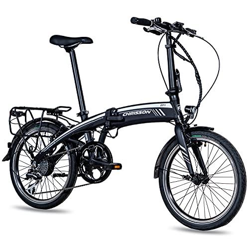 CHRISSON 20 Zoll E-Bike City Klapprad EF1 schwarz - E-Faltrad mit Ananda Nabenmotor 250W, 36V und 40 Nm,...