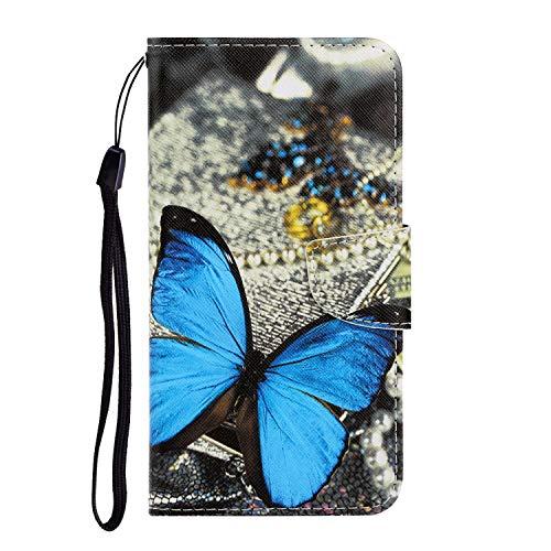 Nadoli Galaxy A40 Hülle,Schmetterling Muster PU Leder Magnetisch Flip Brieftasche mit Handschlaufe...