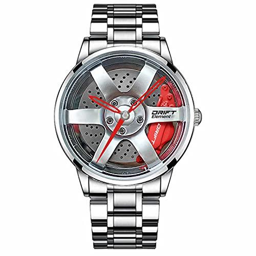 DriftElement Felgenuhr Herren - Motorsport Armbanduhr im 3D Felgendesign aus Edelstahl - Custom Designer...