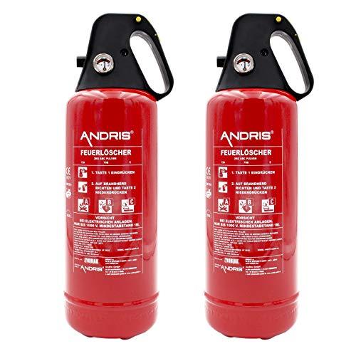 2X ANDRIS® Feuerlöscher ABC Pulver 2kg, für Auto/LKW, mit KFZ-Drahthalter, handliche Griffhaube mit...