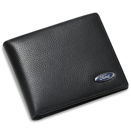 Generic Ford Bifold Geldbörse mit 3 Kreditkartenfächern und Ausweisfenster, echtes Leder, Schwarz,...