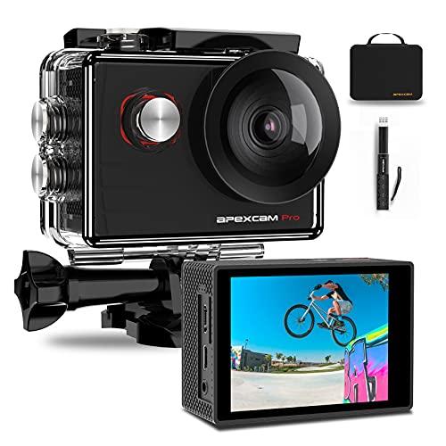 Apexcam Pro Action Cam 4K 20MP Sportkamera WiFi Unterwasserkamera 2.4G Fernbedienung Wasserdicht 40m 2.0...