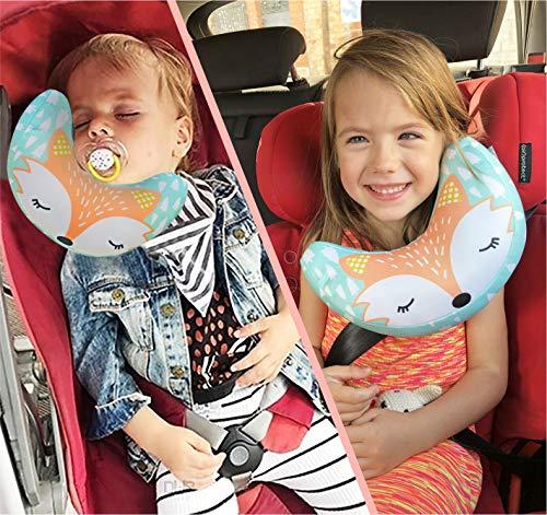BRUNOKO Gurtpolster Kinder - Kopfstütze Kindersitz Auto - Gurtschoner Kinder für Baby Nackenkissen...