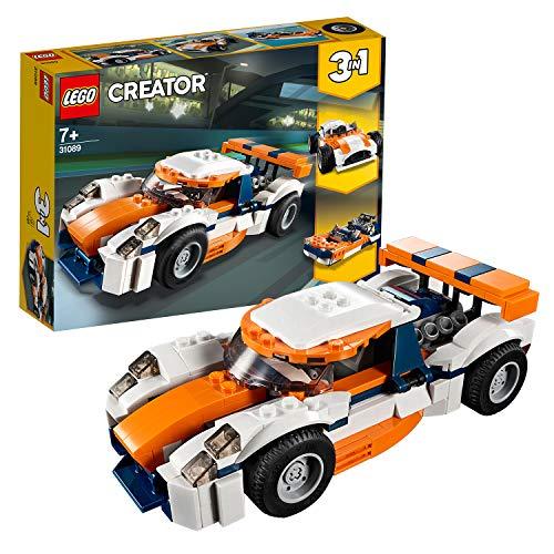 Lego 31089 Creator Rennwagen, Speedboot oder klassischer Rennwagen, 3-in-1 Bauset, Fahrzeuge für Kinder...