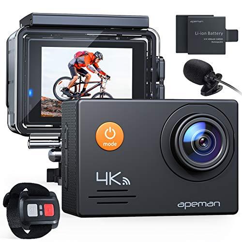 APEMAN Action Cam A79,4K WiFi 20MP Unterwasserkamera Digitale wasserdichte 40M Helmkamera (2.4G...
