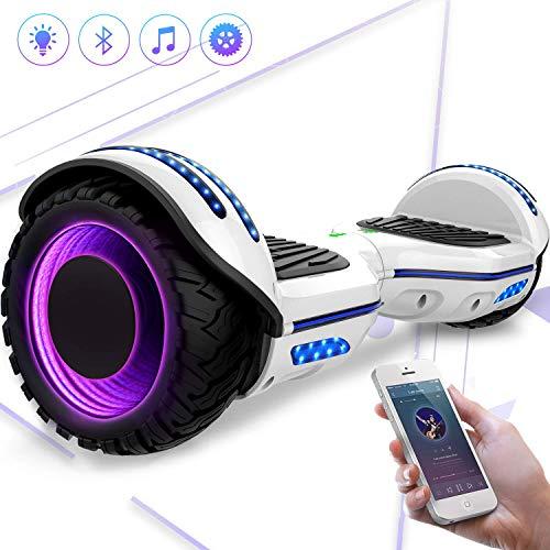 Mega Motion 6,5 Zoll Elektro Skateboard E-Board Hover - mit RGB LED auf Rädern - LED Zelt - Bluetooth...