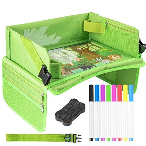 EXTSUD Kinder Reisetisch Kindersitz Spiel und Knietablett Reisetisch mit 1 Transparenter Zeichnungsfilm+4...