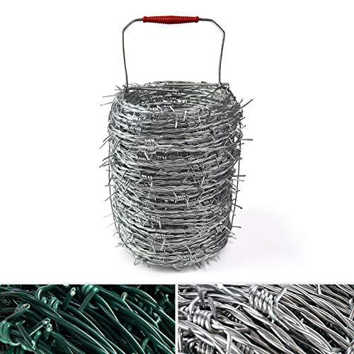 Stacheldraht Verzinkt oder grün | Zug- und bruchfest | 50 m Länge | 1,7 mm Drahtstärke | Weidedraht...