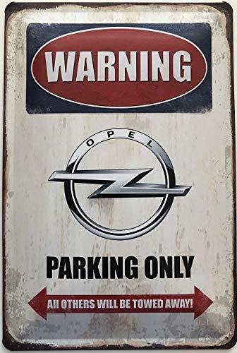 Deko7 Blechschild Warning Opel Parking Only 30 x 20 cm