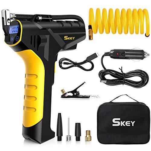 SKEY Auto Kompressor, 12V Elektrische Luftpump, 45 L/Min Luftkompressor mit wiederaufladbarer 2200 mAh...