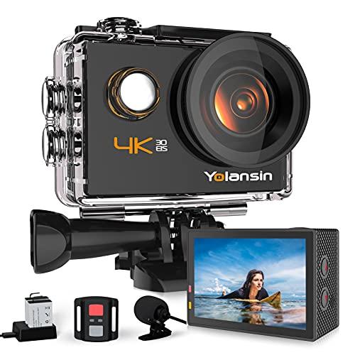 Yolansin Action Cam 4K 20MP WiFi 40M wasserdichte Unterwasserkamera EIS Sportkamera mit 170 ° Weitwinkel...
